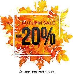 otoño, venta, 20, porcentaje, descuento, vector, bandera
