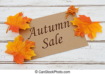 otoño, venta, tarjeta