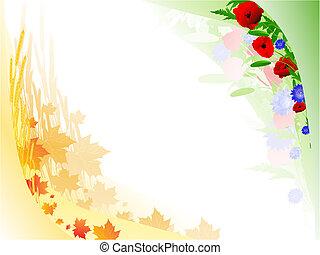 otoño, verano, floral, marco