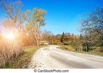 otoño, viejo, bobina, país, árboles, choza, localizado, ...