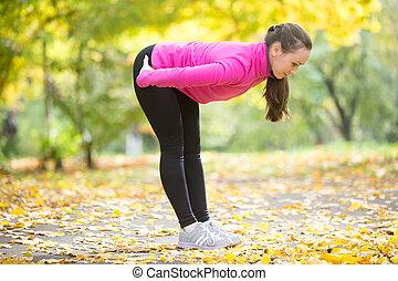 otoño, yoga, outdoors:, posición, mitad, delantero, curva, postura