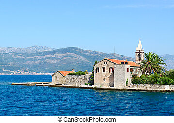 Otok Island (Gospa od Milo) with Jesuit monastery and church of the Blessed Virgin in Tivat Bay, Montenegro