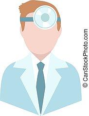 Otolaryngologist, flat style. Doctor treating ear, throat,...