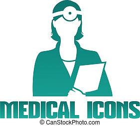 otolaryngologist, médico, icono, doctor