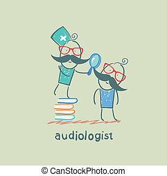otolaryngologist stands on a pile of books and looking through a magnifying glass on the patient's ear