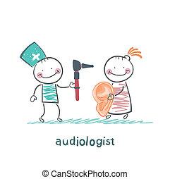 otolaryngologist, yells, porte voix, patient