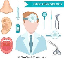 .Otolaryngology icon set, flat style. Doctor treating ear,...
