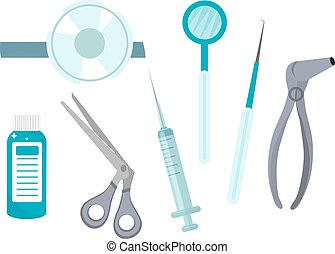 Otolaryngology tools icons, flat style. ENT equipment,...
