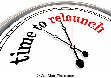 otra vez, reloj, encima, ilustración, comienzo, tiempo, ...