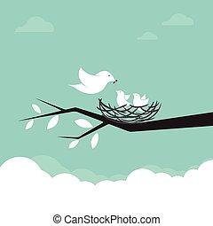 otravovat koho ptáci, illustration., rodina, děťátko
