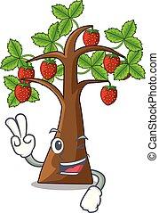 otri, albero, due, fragola, dito, mascotte
