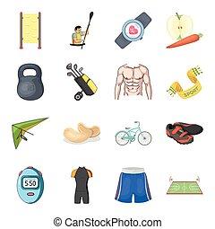 otro, deportes, separado, activo, iconos, colateral, icono, ...