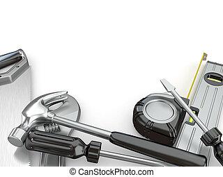 otro, destornillador, tools., martillo, llave inglesa