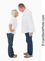 otro, pareja, discusión, enojado, cada, más viejo