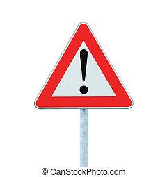 otro, peligro, adelante, advertencia, muestra del camino, con, poste, aislado