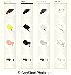 otro, picklock, icono, caricatura, pistolera, tela, guantes, conjunto, collection., arma, style., criminal, iconos, pistola