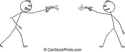 otro, pistola, o, hombres, ilustración, disparando, arma, cada, caricatura, dos, vector, enojado, pistola, arma de fuego