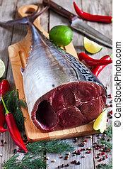 otrzyjcie skórę tuna, przyprawy