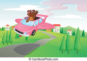 ottar - illustration of an otter in a car on road