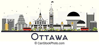 Ottawa Canada City Skyline with Gray Buildings Isolated on White Background. Vector Illustration. Business Travel and Tourism Concept with Modern Buildings. Ottawa Cityscape with Landmarks.
