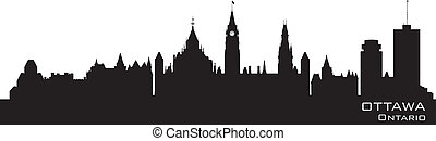 Ottawa, Canada skyline. Detailed silhouette. Vector...
