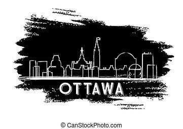 Ottawa Canada Skyline Silhouette. Hand Drawn Sketch.