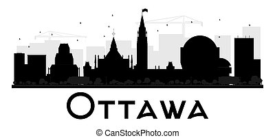 Ottawa City skyline black and white silhouette.