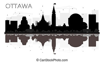 Ottawa City skyline black and white silhouette with reflections.