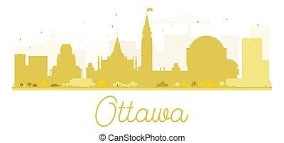 Ottawa City skyline golden silhouette.