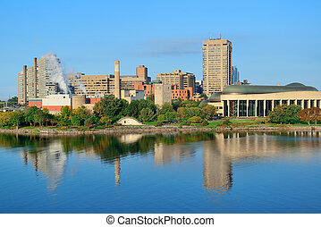 Ottawa city view with river and buildings.