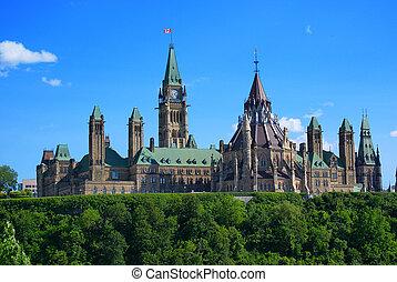 ottawa, -, colina parlamento, canadá