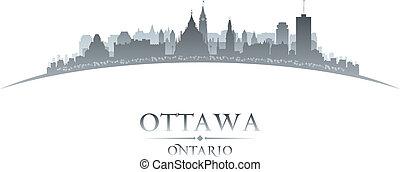 ottawa, fond, horizon, ville, ontario, canada, silhouette, blanc
