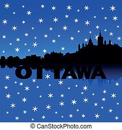 ottawa, horizon, neige, illustration