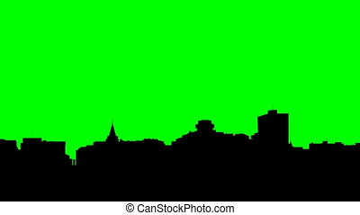 Long pan of a skyline silhouette of the capital city of Ottawa, Ontario, Canada.