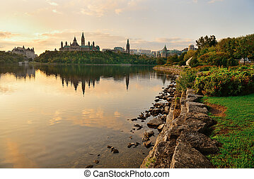 Ottawa morning - Ottawa city skyline at sunrise in the...