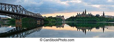 Ottawa morning - Ottawa city skyline panorama at sunrise in...