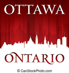Ottawa Ontario Canada city skyline silhouette red background