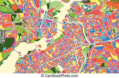 Ottawa, Ontario, Canada, colorful vector map