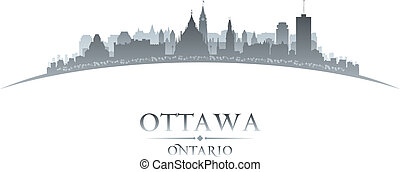 ottawa, ontario, canada, stad skyline, silhouette, witte...
