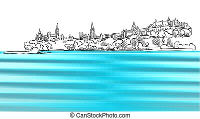 Ottawa Panorama Sketch seen from Ontario River, Hand drawn...