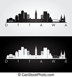 Ottawa skyline and landmarks silhouette, black and white...