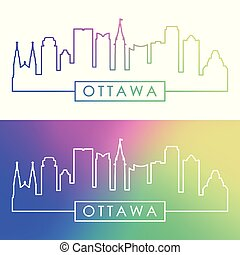 Ottawa skyline. Colorful linear style. Editable vector file.