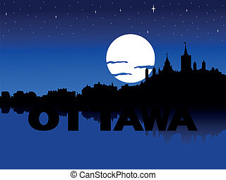 Ottawa skyline moon illustration - Ottawa skyline reflected...