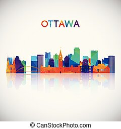 Ottawa skyline silhouette in colorful geometric style.