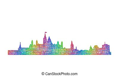 Ottawa skyline silhouette - multicolor line art