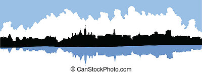 Skyline silhouette of the city of Ottawa, Ontario, Canada.