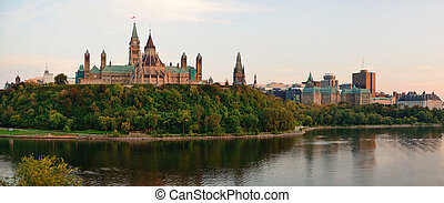 Ottawa sunset panorama over river with historical...