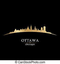 ottawa, svart fond, horisont, stad, ontario, kanada, ...