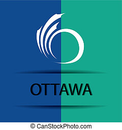 Ottawa text on special background allusive to the flag