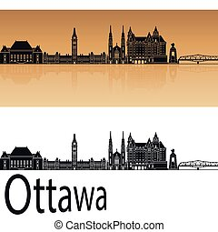 Ottawa V2 skyline in orange background in editable vector...